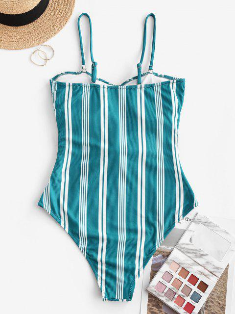 sale ZAFUL Ribbed Striped Tie Waist One-piece Swimsuit - DEEP GREEN M Mobile