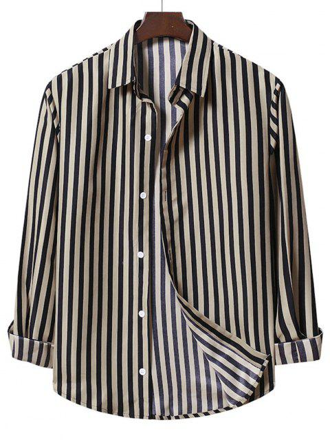 womens Casual Stripe Shirt - CAMEL BROWN M Mobile