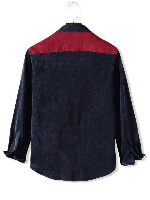 fashion Button Up Front Pocket Colorblock Corduroy Jacket - MULTI XL Mobile