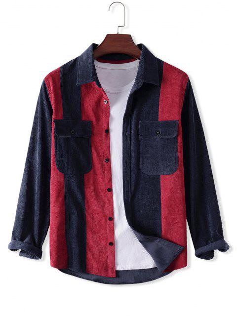 fancy Button Up Front Pocket Colorblock Corduroy Jacket - MULTI L Mobile