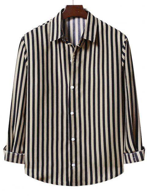 unique Casual Stripe Shirt - CAMEL BROWN 2XL Mobile