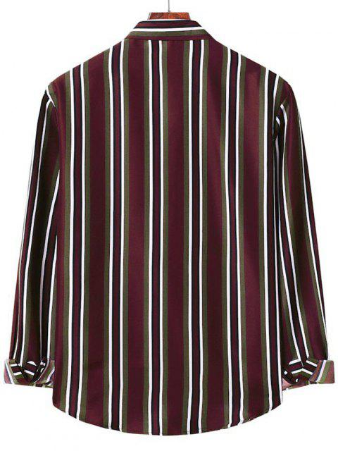 lady Button Up Vertical Stripe Shirt - RED WINE S Mobile
