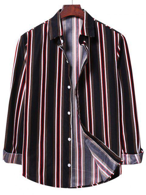 best Button Up Vertical Stripe Shirt - BLACK 2XL Mobile