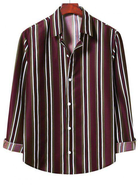 shop Button Up Vertical Stripe Shirt - RED WINE XL Mobile