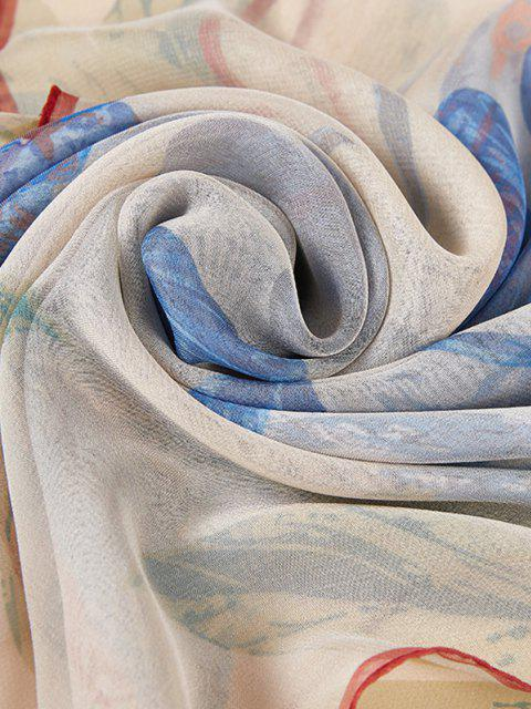 Écharpe Longue Protection SolaireFloral Imprimé - Bleu de Soie  Mobile