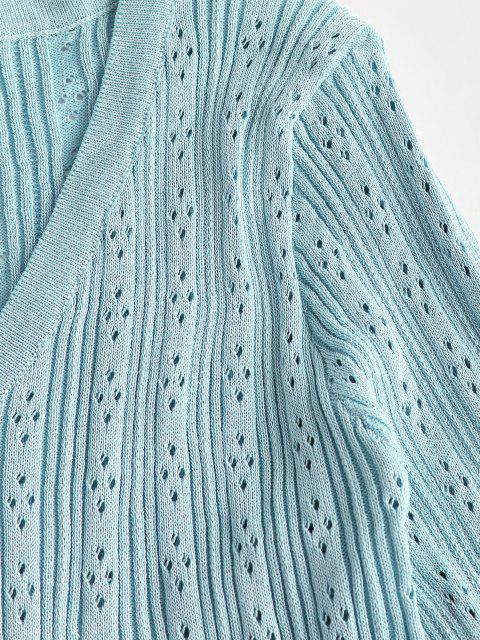 women Openwork Button Up V Neck Plain Cardigan - LIGHT BLUE ONE SIZE Mobile