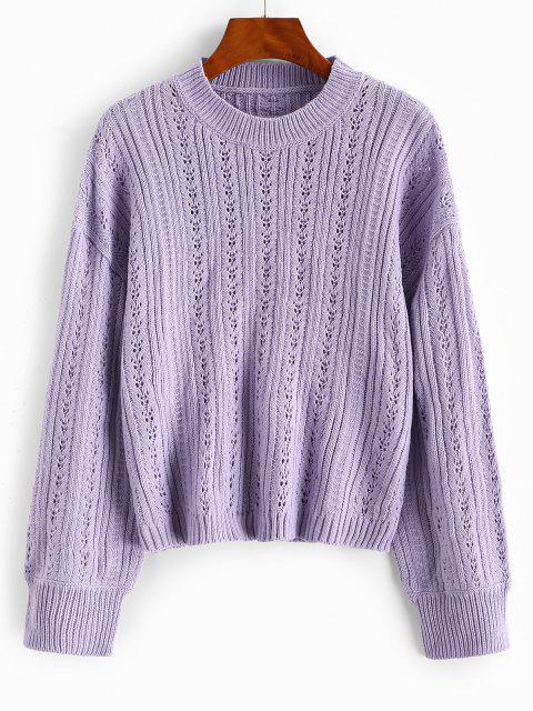Pull Simple Ajouré à Goutte Epaule - Violet clair Taille Unique Mobile
