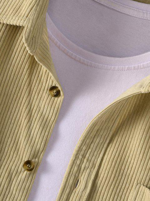 fashion Button Up Solid Color Corduroy Jacket - LIGHT YELLOW 2XL Mobile
