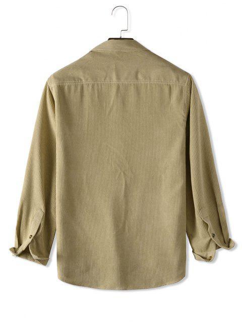 Veste Boutonnée en Couleur Unie en Velours Côtelé - Jaune clair XL Mobile