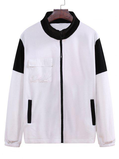 Jaqueta de Lã de Bloco de Cores com Zíper Bolso - Branco 2XL Mobile