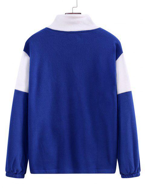 Veste Zippée en Blocs de Couleurs avec Poche en Laine - Bleu Cobalt M Mobile