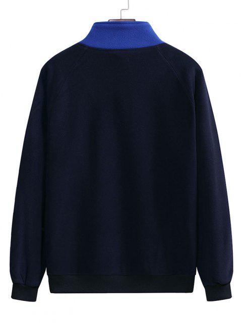 Sweat-shirt en Blocs de Couleurs à Demi-Zipà ManchesRaglanen Laine - Bleu de Minuit 2XL Mobile