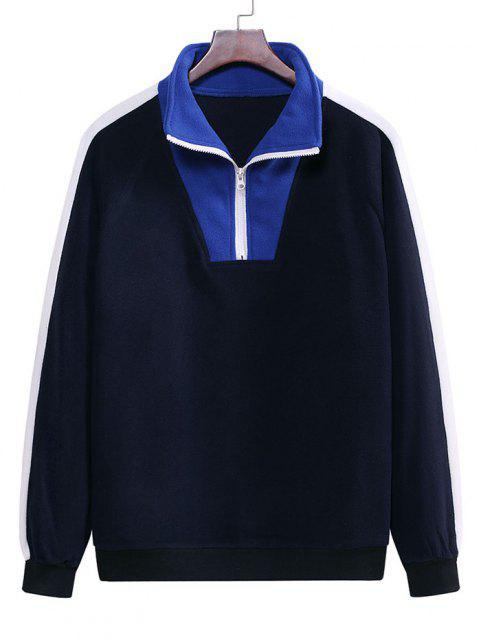 Colorblock Half Zip Raglan Sleeve Fleece Sweatshirt - منتصف الليل الأزرق M Mobile