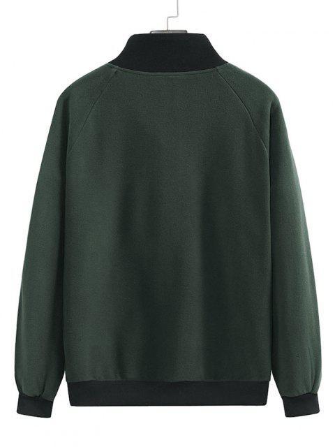 sale Colorblock Half Zip Raglan Sleeve Fleece Sweatshirt - TAUPE 2XL Mobile