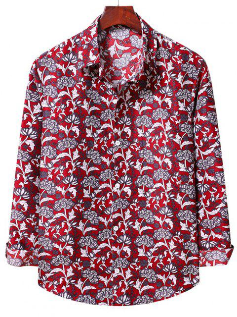womens Flower Print Long Sleeve Casual Shirt - LAVA RED S Mobile