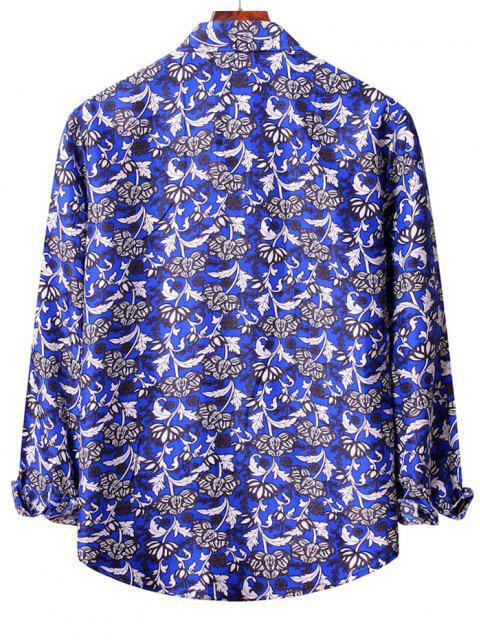 new Flower Print Long Sleeve Casual Shirt - BLUEBERRY BLUE 2XL Mobile