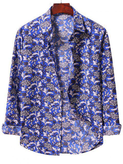 Flower Print Long Sleeve Casual Shirt - Blueberry Blue 2XL Mobile