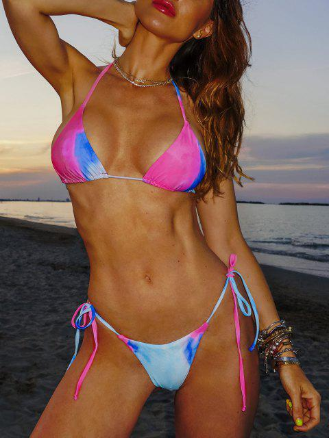 shop ZAFUL Halter Tie Dye Three Piece Bikini Swimsuit - RED S Mobile