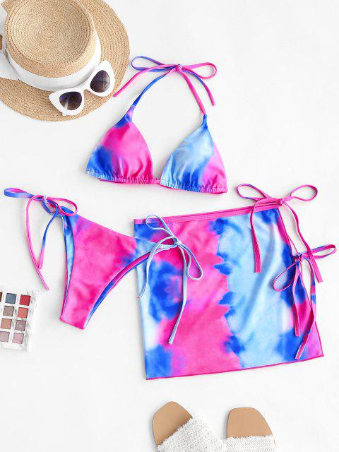 ZAFUL Bikini de Tres Piezas con Tie-dye - Rojo M Mobile