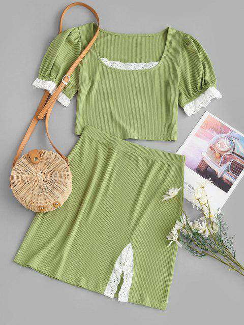 online Broderie Anglaise Ribbed Slit Skirt Set - GREEN L Mobile
