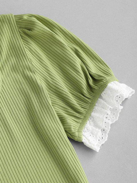 women Broderie Anglaise Ribbed Slit Skirt Set - GREEN S Mobile