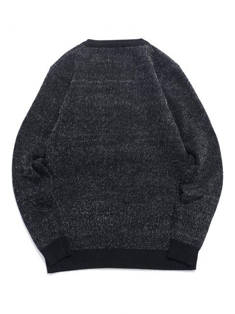 best Fuzzy Crew Neck Graphic Sweater - BLACK S Mobile