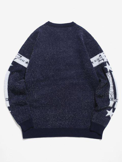 new Fuzzy Knit Letter Star Graphic Pullover Sweater - CADETBLUE XS Mobile