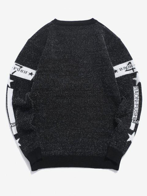 shops Fuzzy Knit Letter Star Graphic Pullover Sweater - BLACK M Mobile