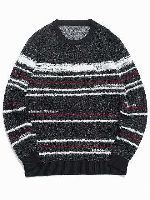 unique Crew Neck Fuzzy Striped Sweater - BLACK M Mobile