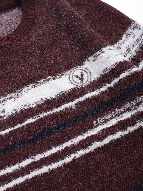 women Crew Neck Fuzzy Striped Sweater - RED WINE S Mobile