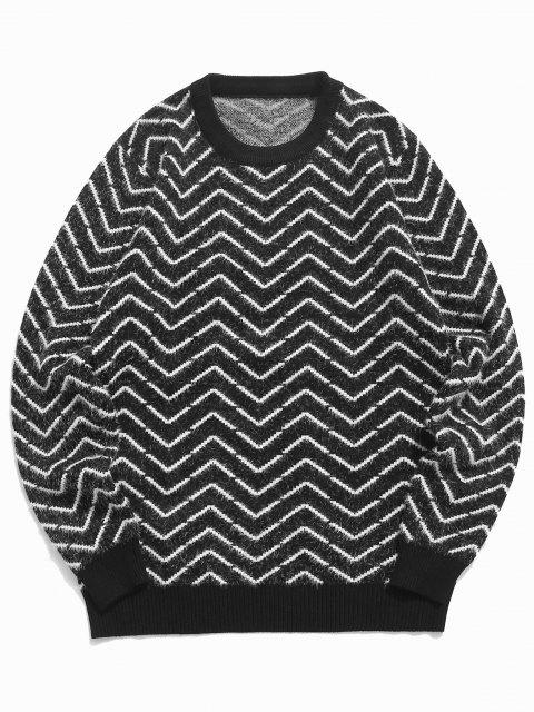 women's Crew Neck Chevron Pattern Fuzzy Sweater - BLACK S Mobile