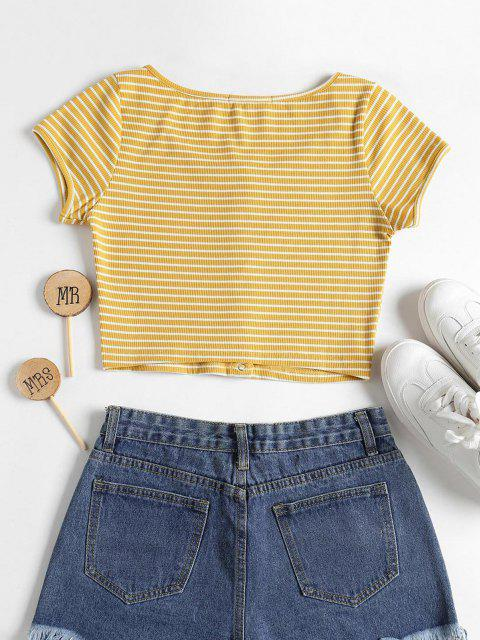 ladies Striped Ribbed Crop Top - YELLOW S Mobile