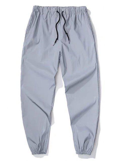Pantalones Deportivos Adelganzados y Cordones - Gris Claro M Mobile