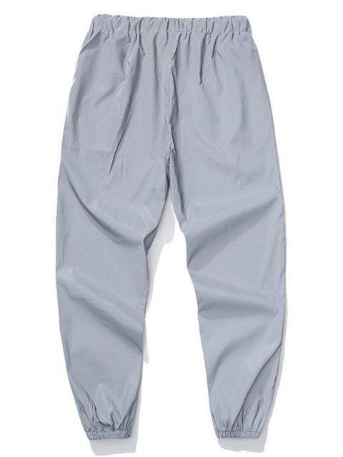 Pantalones Deportivos Adelganzados y Cordones - Gris Claro L Mobile