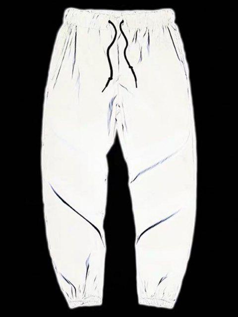 sale Drawstring Luminous Tapered Sports Pants - LIGHT GRAY XL Mobile