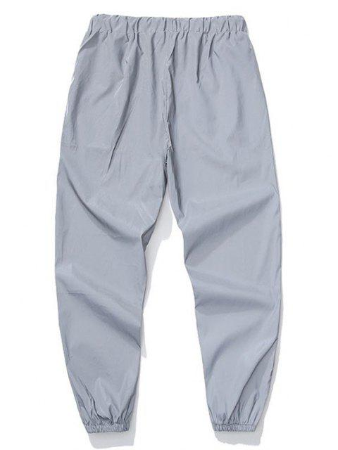 affordable Drawstring Luminous Tapered Sports Pants - LIGHT GRAY 2XL Mobile