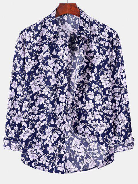 women Casual Floral Print Button Up Shirt - DENIM DARK BLUE M Mobile