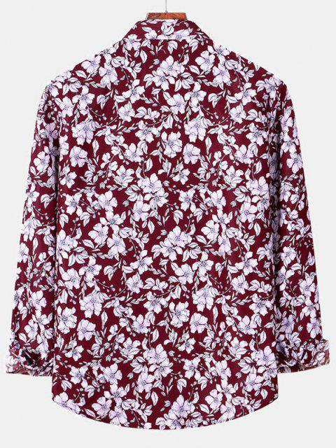 women's Casual Floral Print Button Up Shirt - RED WINE 2XL Mobile