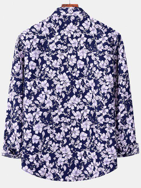 outfit Casual Floral Print Button Up Shirt - DENIM DARK BLUE S Mobile