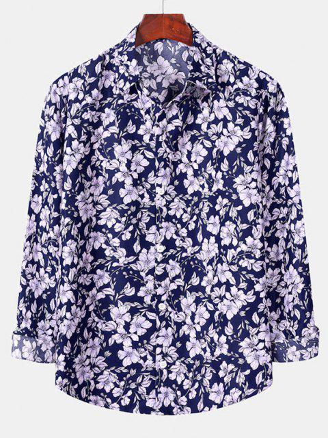trendy Casual Floral Print Button Up Shirt - DENIM DARK BLUE 2XL Mobile