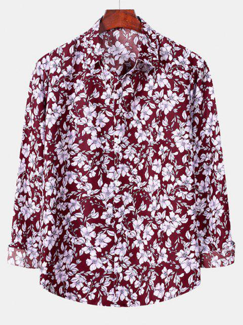 buy Casual Floral Print Button Up Shirt - RED WINE M Mobile