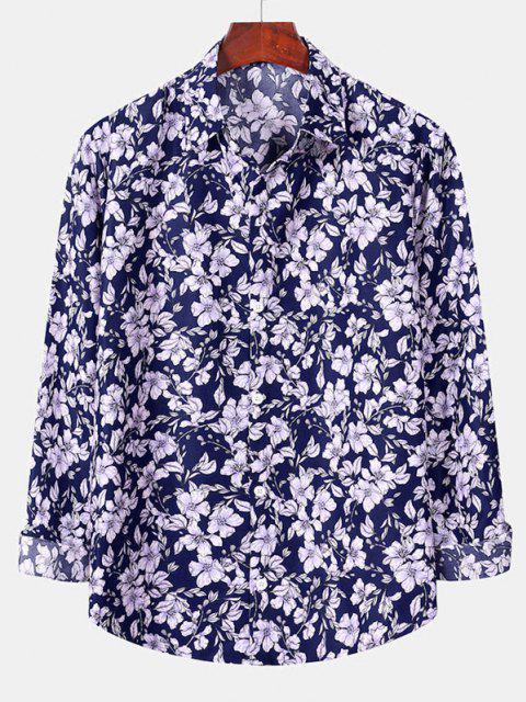 women Casual Floral Print Button Up Shirt - DENIM DARK BLUE L Mobile