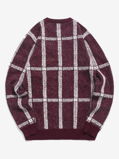 trendy Plaid Ribbed Trim Jumper Sweater - RED WINE S Mobile
