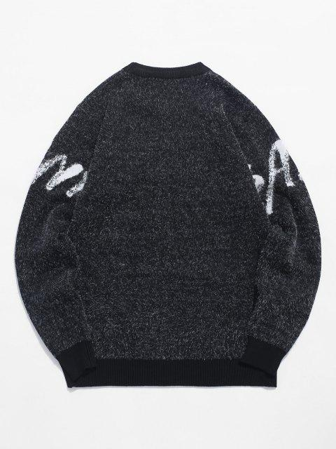 trendy Banya Graphic Fuzzy Sweater - BLACK XS Mobile