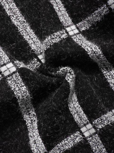 online Plaid Ribbed Trim Jumper Sweater - BLACK XS Mobile