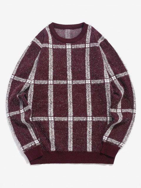 ladies Plaid Ribbed Trim Jumper Sweater - RED WINE XS Mobile