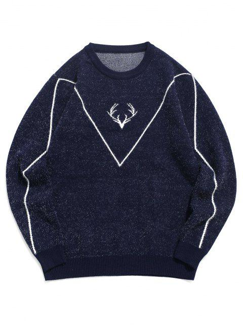 buy Fuzzy Knit Elk Horn Graphic Ribbed Hem Sweater - CADETBLUE S Mobile
