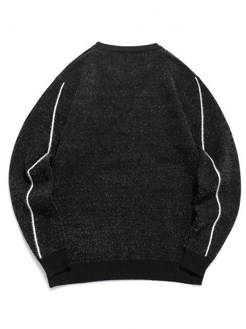 ladies Fuzzy Knit Elk Horn Graphic Ribbed Hem Sweater - BLACK XS Mobile