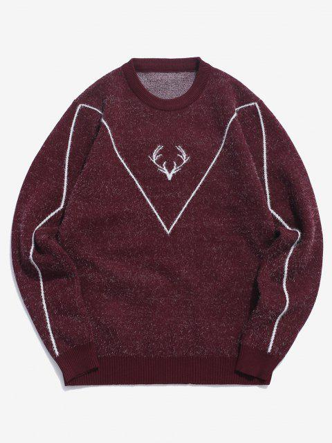lady Fuzzy Knit Elk Horn Graphic Ribbed Hem Sweater - RED WINE S Mobile