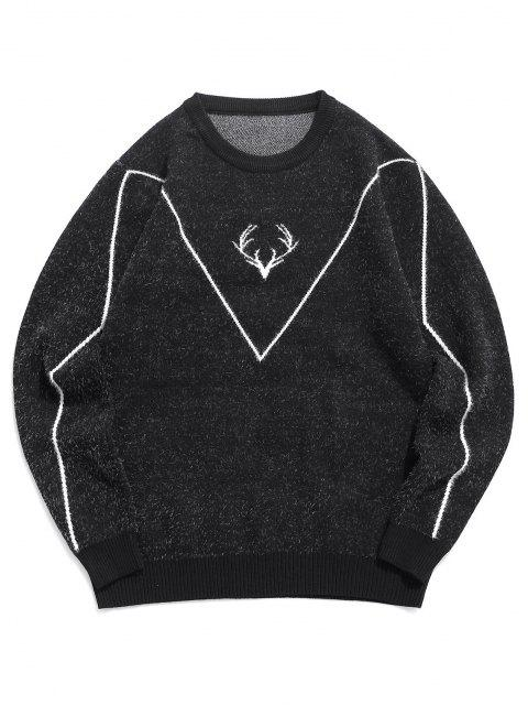 affordable Fuzzy Knit Elk Horn Graphic Ribbed Hem Sweater - BLACK S Mobile